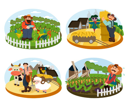 Set of Farmers on the background of his farm with cow, sheep and cock. Village theme. Flat style vector illustration Standard-Bild - 103677332
