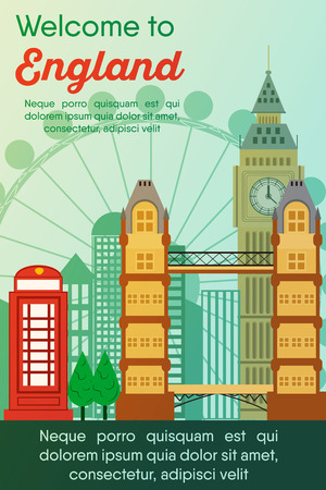 Landmarks banner in vector. Travel destinations card. Trip to England. Landscape template of world places of interest.