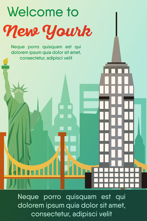 Landmarks banner in vector. Travel destinations card. Trip to New York. Landscape template of world places of interest. Illustration