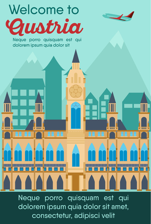 Landmarks banner in vector. Travel destinations card. Trip to Austria. Landscape template of world places of interest.