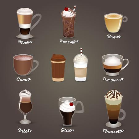 Coffee set. Mocha, iced coffee, breve, cocoa, con panna, irish glace amaretto Cafe menu Vector illustration