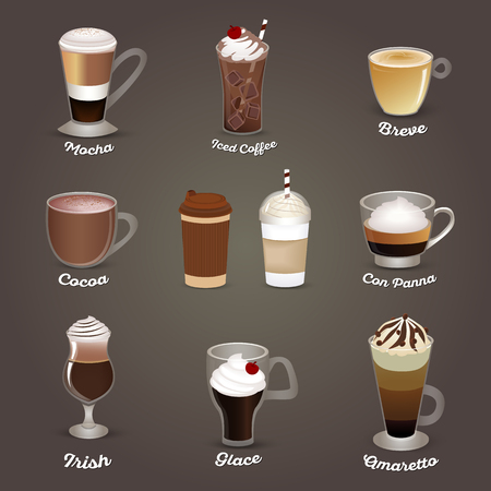 Coffee set. Mocha, iced coffee, breve, cocoa, con panna, irish glace amaretto Cafe menu Vector illustration