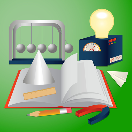 Vector illustration depicts school concept with corresponding staff like blackboard, notebook, pencil and other attributes referring to different subjects