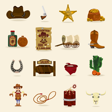 Wild west cowboy objects and design elements with horseshoe, revolver, flasks and cactus, dynamite, skull, in cartoon isolated vector illustration