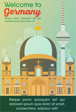 Landmarks banner in vector. Travel destinations card. Trip to Germany. Landscape template of world places of interest.