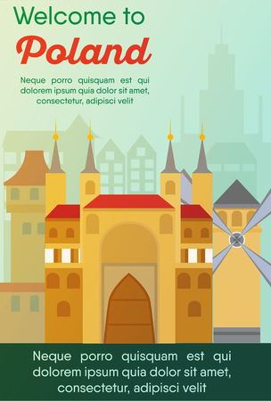 Landmarks banner in vector. Travel destinations card. Trip to Poland. Landscape template of world places of interest.