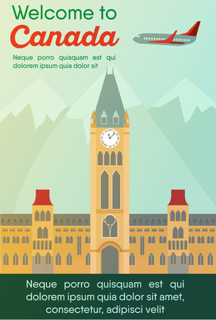 Landmarks banner in vector. Travel destinations card. Trip to Canada. Landscape template of world places of interest.