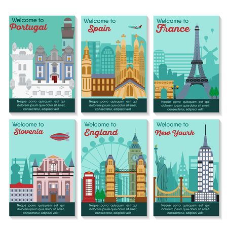 Set of different cities for travel. Landscape template flyer. Landmarks banner in vector. Travel destinations cards. Portugal, Spain, France, Slovenia, England, New York