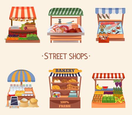 Conjunto de tiendas callejeras de diseño plano vectorial. Alimentos frescos en mostradores. Mercado de agricultores locales. Ilustración vectorial