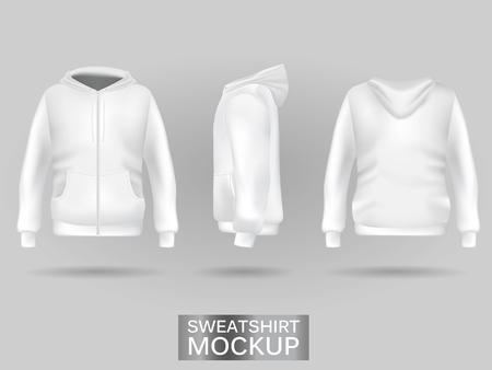 White sweatshirt hoodie template in three dimensions: front, side and back view, realistic gradient mesh vector. Clothes for sport and urban style