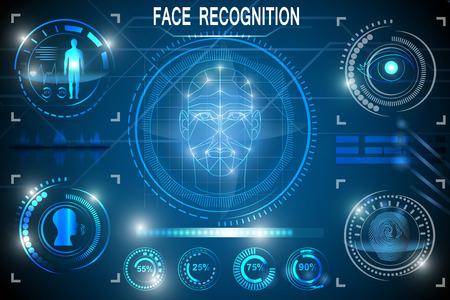 Biometrisches Identifikations- oder Erkennungssystem der Person. Gesichtserkennung. Stellen Sie HUD-Elemente ein