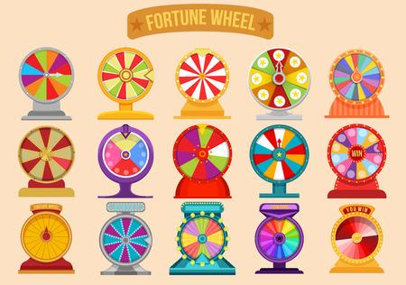 set di ruote che girano per la fortuna della roulette. Giro di fortuna della ruota. Lotteria fortuna illustrazione casinò giochi di denaro.