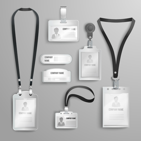 set of realistic clear plastic badges id cards holders on black lanyards. vector illustration