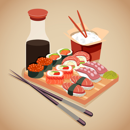 concepto de mariscos en estilo de dibujos animados con sushi roll, cola, wasabi y arroz. ilustración vectorial