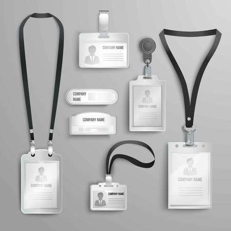 illustration set of realistic clear plastic badges id cards holders on black lanyards vector illustration - Plastic Id Card Holder