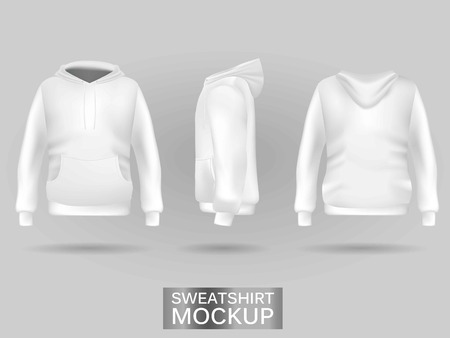 White sweatshirt hoodie without zip template in three dimensions: front, side and back view, realistic gradient mesh vector. Clothes for sport and urban style 일러스트