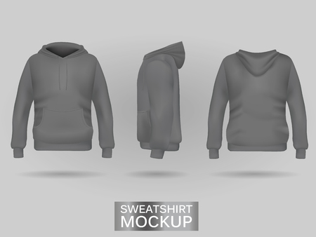 Grey sweatshirt hoodie without zip template in three dimensions: front, side and back view, realistic gradient mesh vector. Clothes for sport and urban style