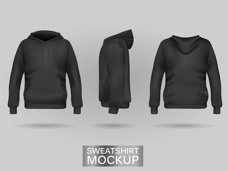 Black sweatshirt hoodie without zip template in three dimensions: front, side and back view, realistic gradient mesh vector. Clothes for sport and urban style