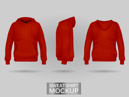 Red sweatshirt hoodie without zip template in three dimensions: front, side and back view, realistic gradient mesh vector. Clothes for sport and urban style Ilustracja
