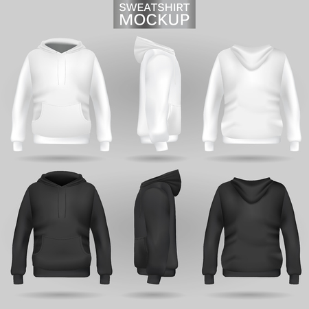 White and black sweatshirt hoodie template in three dimensions: front, side and back view, realistic gradient mesh vector. Clothes for sport and urban style Stock Vector - 111557355