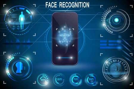 Biometrisches Identifikations- oder Erkennungssystem der Person. Gesichtserkennung. Technologie-Smartphone-Scannen. Stellen Sie HUD-Elemente ein Vektorgrafik
