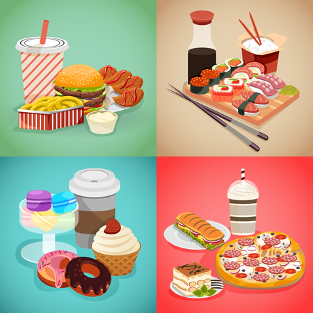 Set of different foods: pizza, sushi, burgers, and coffee with macaroons, donuts. Showing American, Italian and Japanese cousins. Fast food concept in cartoon style. Stock Photo