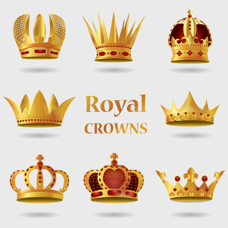 Set of Royal golden crown with Gradient Mesh. Vector Illustration. Ilustrace
