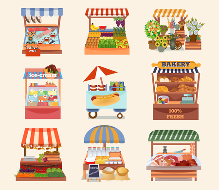 Set of vector flat design street shops. Fresh food on counters. Local farmers market. Bakery, fish, meat, flower, fruit shop, ice cream, hot dog. Vector illustration