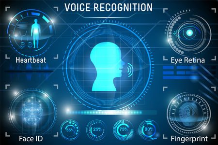 Voice recognition. Biometric Identification of Person. Face ID, heartbeat, eye retina, fingerprint. Set HUD Elements Banque d'images - 115605885