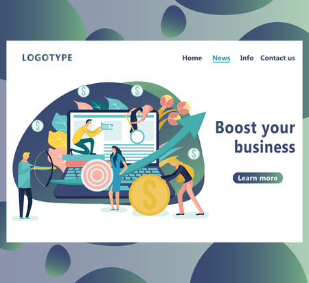 Boost your business landing page template. People with an arrow going up, showing profit. Flat icon on the laptop has merged all accounts, money. Graphic design concept mobile banking.