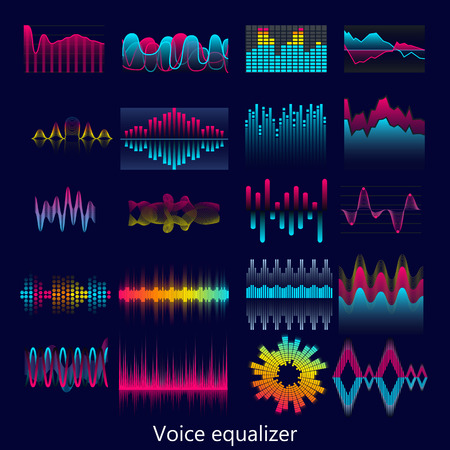 Set of voice equalizer waves design template signal visualization illustration. Colorful light audio signal.