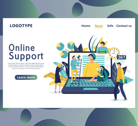 Online global technical support concept. Landing page template. Customer service, hotline operator advises the client, customer, and operator. Vector illustration.