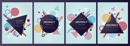 set of bstract modern banner and background in vector demonstrates geometric elements, shapes and signs can be used as a banner, brochure or part of the modern info graphics Ilustração