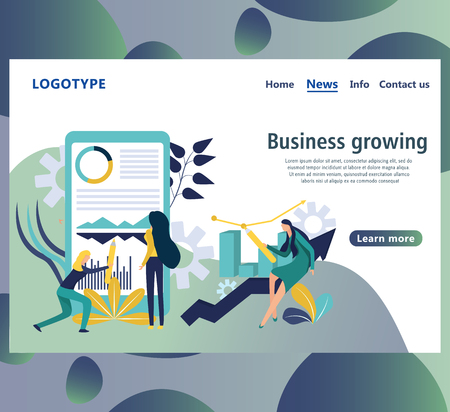 Web page design template for business growth. Website page with infographic elements which depict discussion, working process in the office, development of the project, holding the discussion etc.