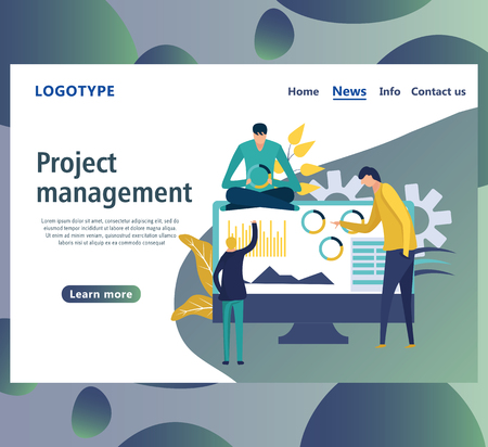 Web page design templates for project management, business communication, workflow and consulting. Landing page shows of some business, working and processing of the data by employees in the office