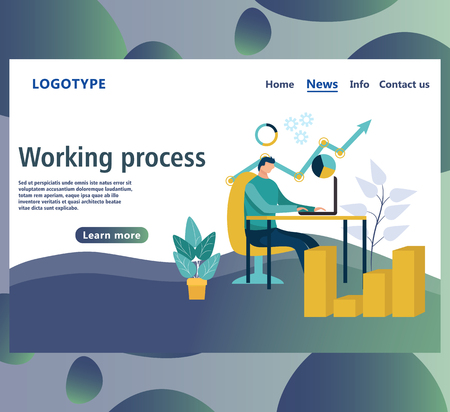 Web page design template. Landing page or website part, shows the growth of some business, working and processing of the data by an employee in the office or by the freelancer.