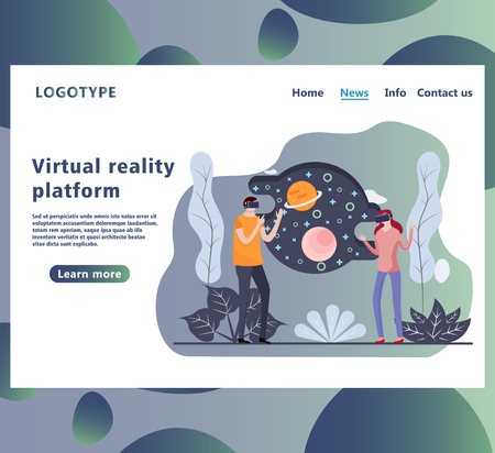Landing page or website part shows the man and woman in virtual reality glasses in cyberspace. vr interface. Web page design template.