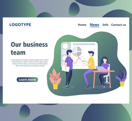 Web page design templates for business team, workflow and consulting. Landing page shows of some business, working and processing of the data by employees in the office
