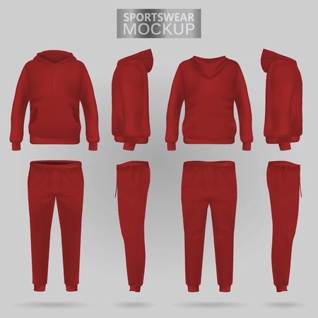 Maqueta de la sudadera con capucha de ropa deportiva roja y los pantalones en cuatro dimensiones: vista frontal, lateral y posterior, vector de malla de degradado realista. Ropa para deporte y estilo urbano