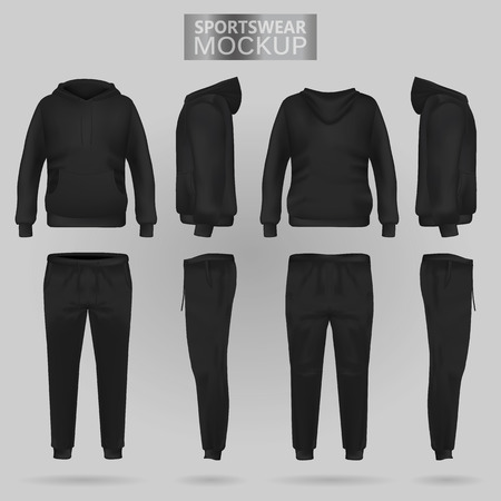 Mockup of the Black sportswear hoodie and trousers in four dimensions: front, side and back view, realistic gradient mesh vector. Clothes for sport and urban style