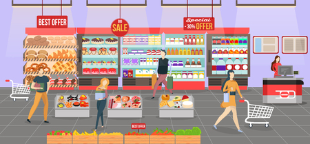 People shopping at the supermarket. Shop interior on the checkout with different sections - fruits, meat, cheese and milk products. Big shopping mall. Shelves with products and drinks. Illustration