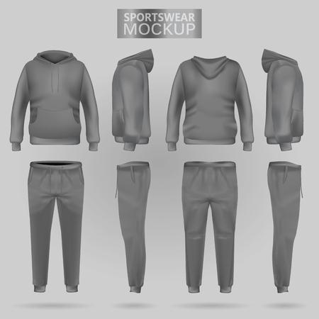 Maqueta de la sudadera con capucha de ropa deportiva gris y los pantalones en cuatro dimensiones: vista frontal, lateral y posterior, vector de malla de degradado realista. Ropa para deporte y estilo urbano