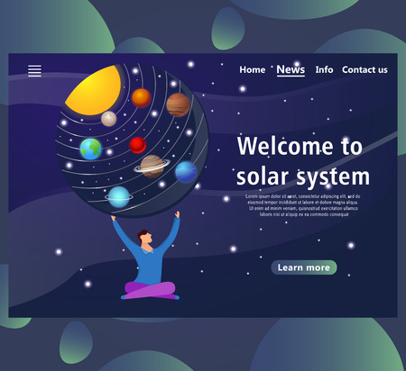 Website page templates with Solar system design. Landing page shows space around man. vector illustration