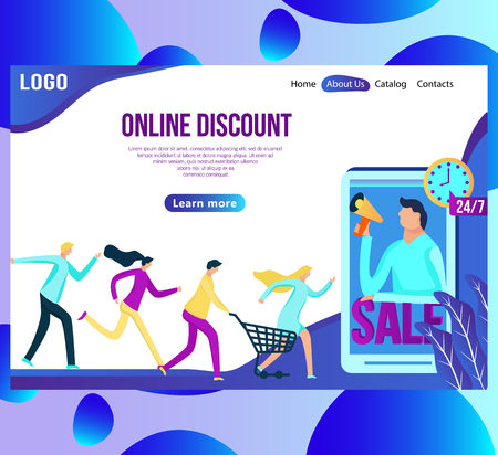Web page design template for online shopping and sale. Discount, retail, and special offer concept. vector illustration for the website and mobile landing page development. Ilustração