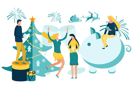 Merry Christmas and Happy New Year. People preparing for and celebrating winter holidays. Vector illustration