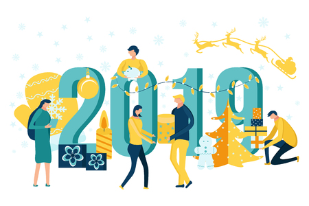 Merry Christmas and Happy New Year. People decorating numbers 2019 and preparing for and celebrating winter holidays. Vector illustration