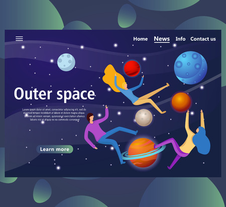 Website page templates for outer space. Landing page shows space around man. vector illustration