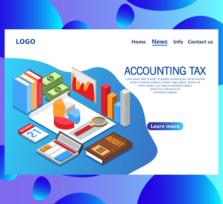 Web page design templates for Accounting tax isometric vector concept. Audit, documents analysis, business review, paperwork with money. Landing page.