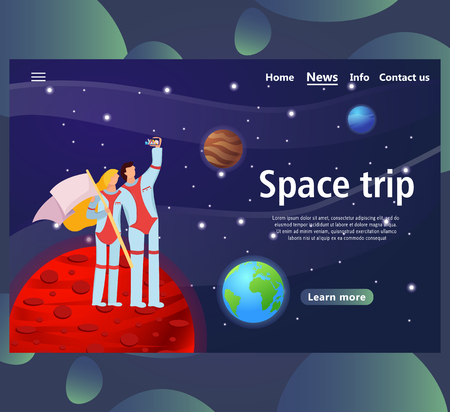 Website page templates for space trip design. Landing page shows space around man. vector illustration
