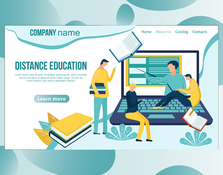 Web page design template for online education, distance courses, e-learning, learning, video tutorials, webinar, business training. Vector illustration for the website and mobile landing page